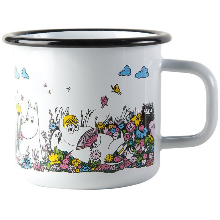 A moment together enamel mug white 3,7 dl with candle by Muurla - The Official Moomin Shop