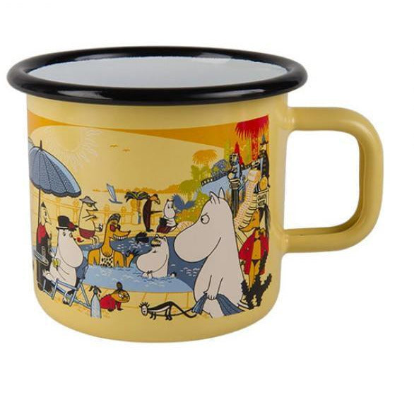 Moomin on the Riviera enamel mug  3,7 dl - Swimming Pool - The Official Moomin Shop