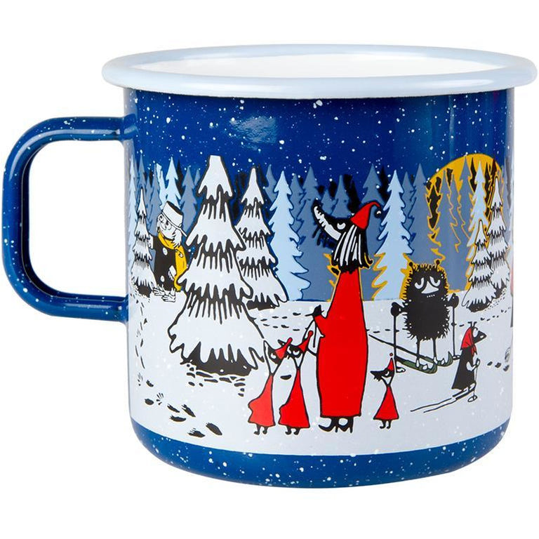 Moomin Winter Forest enamel mug by Muurla 8dl - The Official Moomin Shop