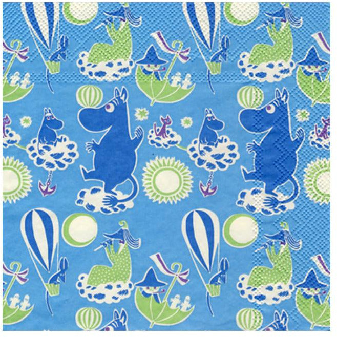 Blue Moomin patterned napkins by Karto - The Official Moomin Shop