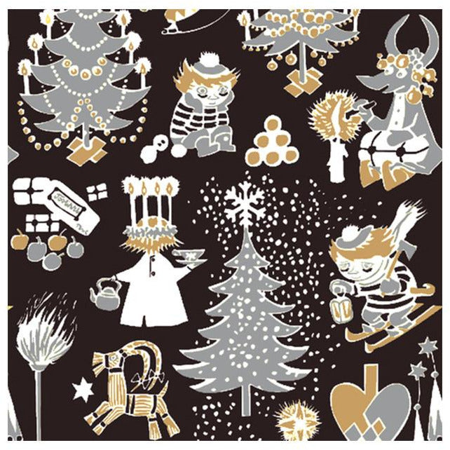 Christmas Moomin napkins black by Suomen Kerta - The Official Moomin Shop