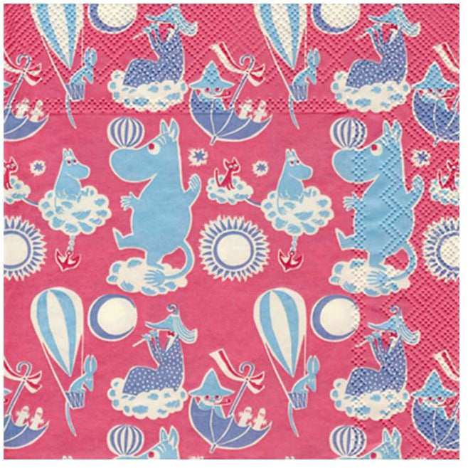 Pink Moomin patterned napkins by Karto - The Official Moomin Shop