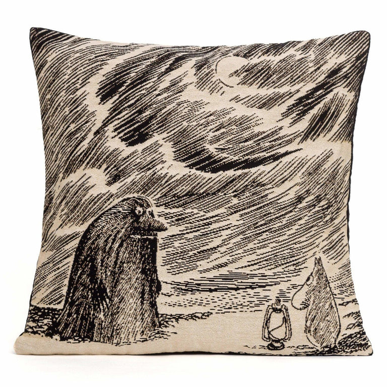 Moomintroll and the Groke cushion cover by Aurora Decorari - The Official Moomin Shop