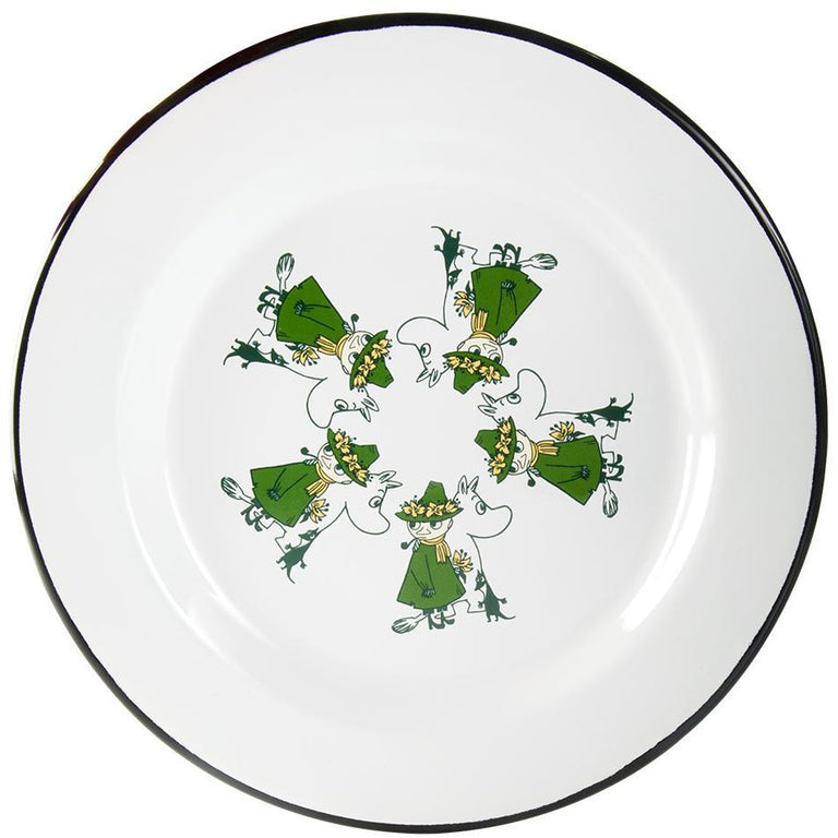 Moomin Friends - Moomintroll and Snufkin enamel plate 24 cm - The Official Moomin Shop