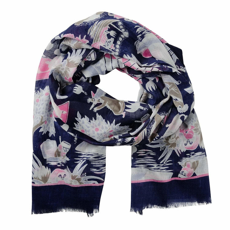 Moomin Midsummer dark blue scarf by Lasessor - The Official Moomin Shop