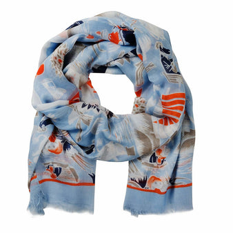 Moomin Midsummer light blue scarf by Lasessor