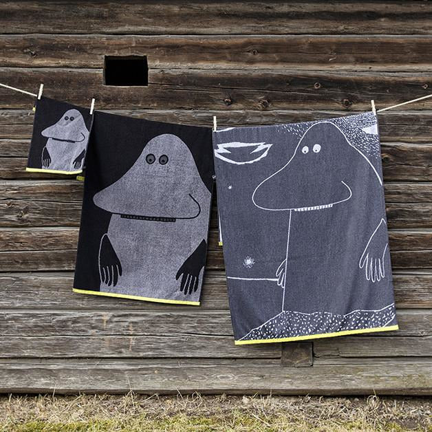 Groke bath towel black 70 x 140 cm by Finlayson - The Official Moomin Shop