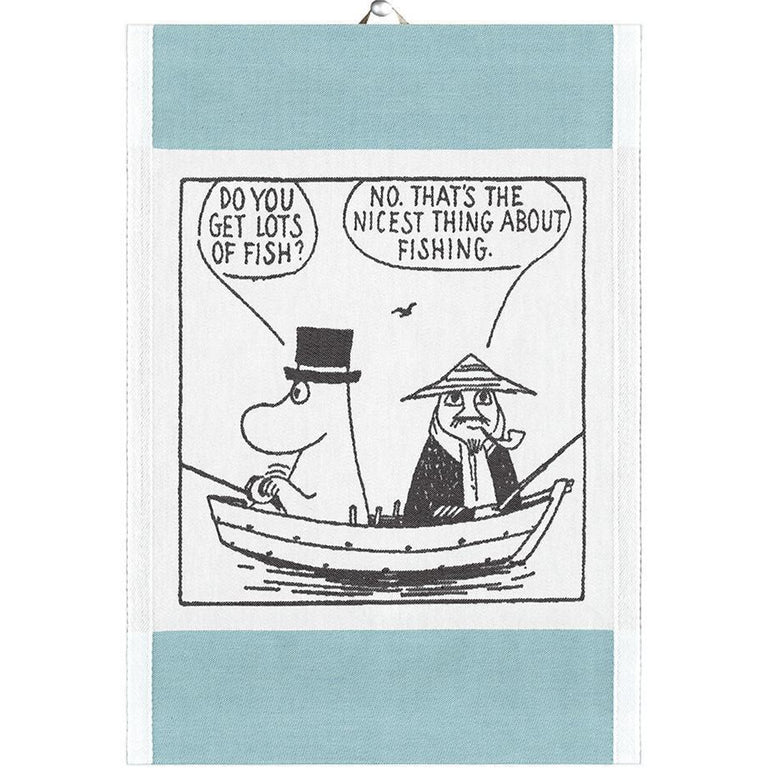 Moomin 'Gone fishing' kitchen towel by Ekelund - The Official Moomin Shop