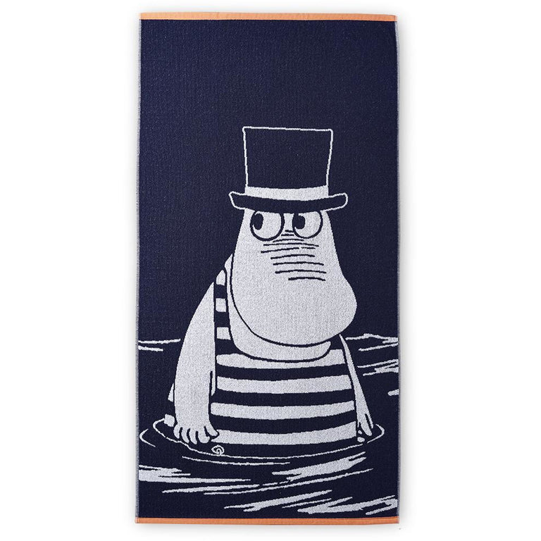 Moominpappa blue bath towel 70 x 140 cm by Finlayson - The Official Moomin Shop