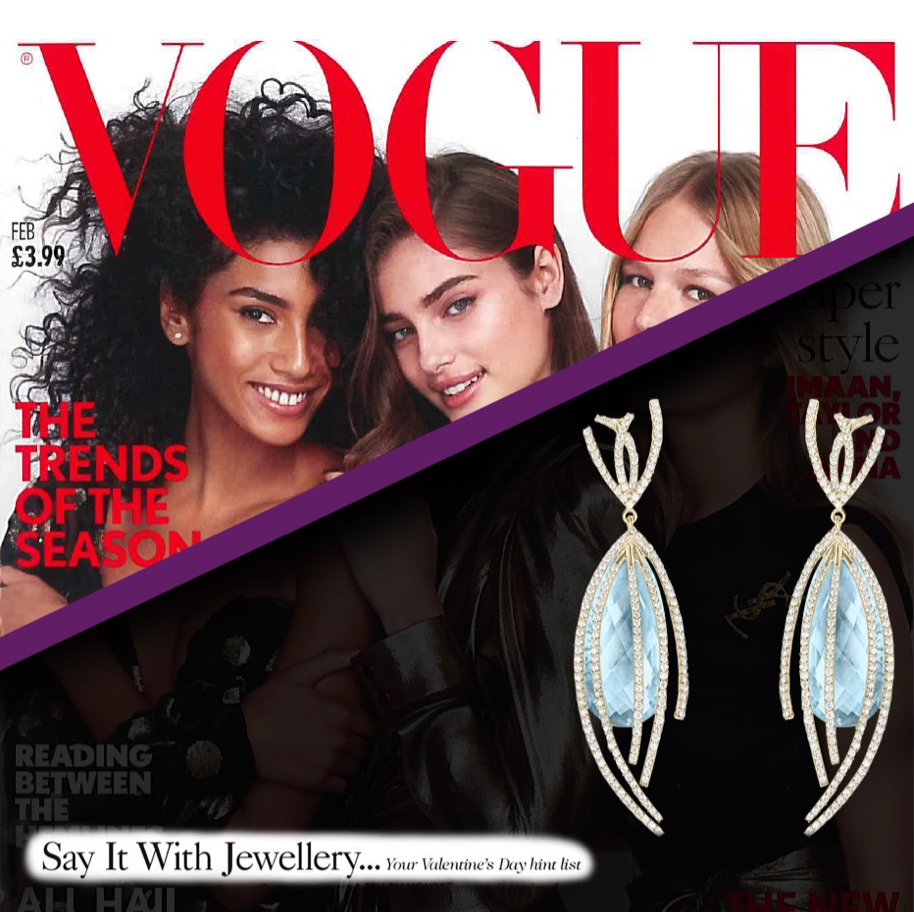 Arya Esha Shooting Star Earrings Featured as Top 12 Valentines Day Jewel at Vogue Magazine
