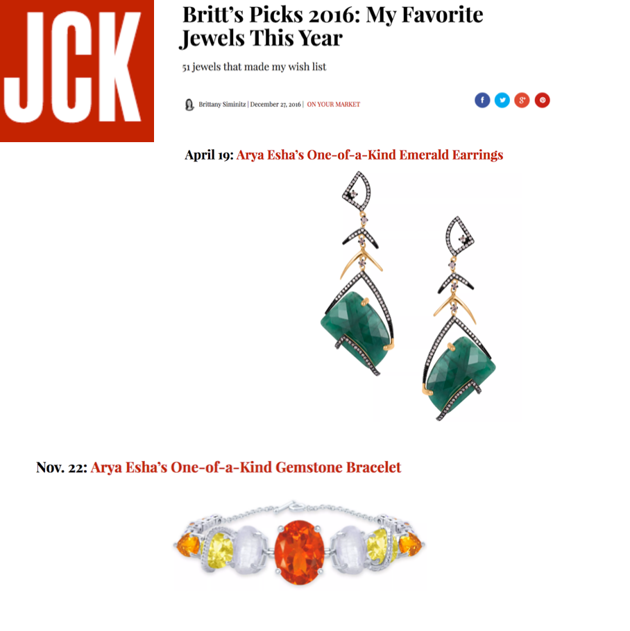 Arya Esha One-of-a-Kind Jewels Chosen as 2016 Favorites  at JCK Magazine Online
