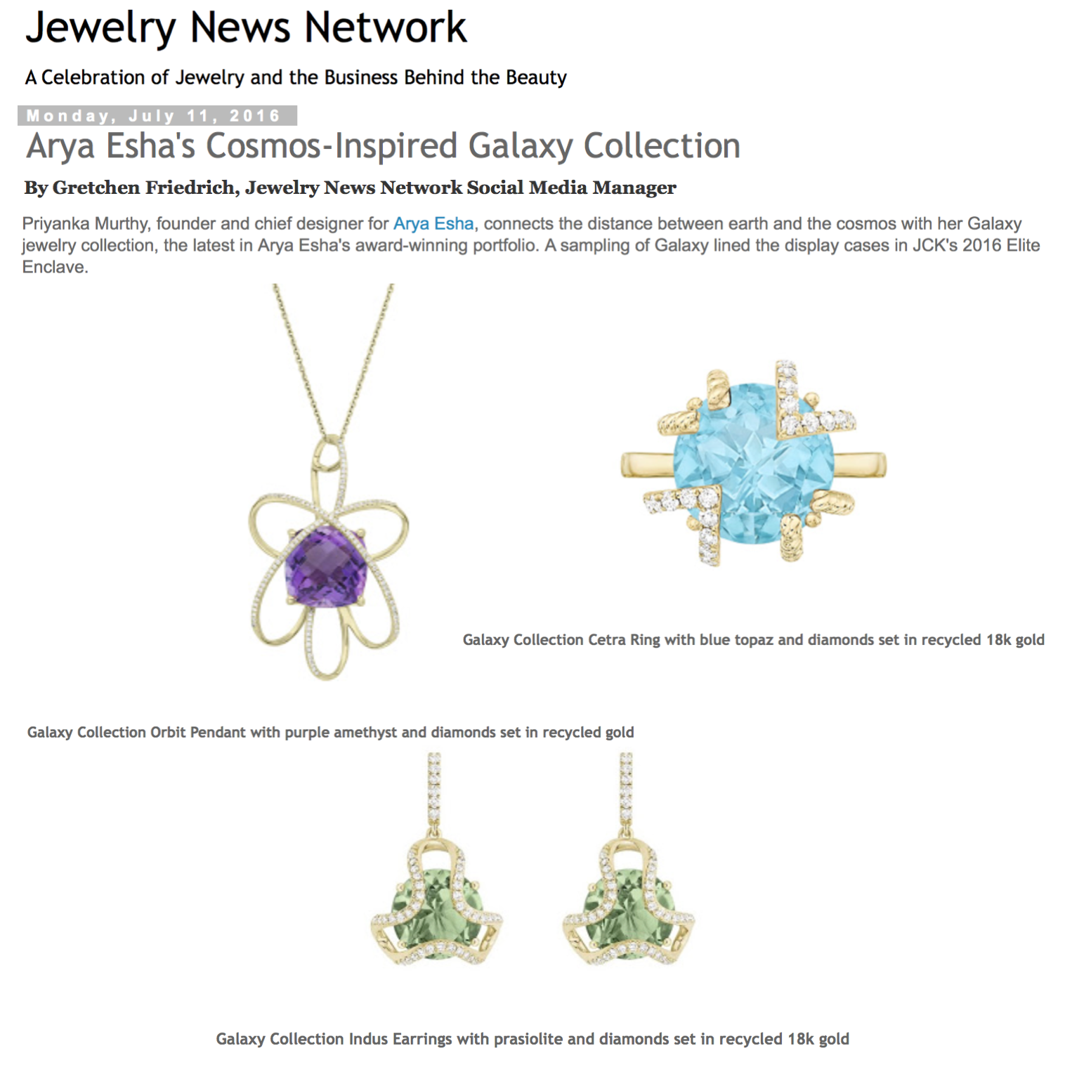 Spotlight on Arya Esha's Cosmos Inspired Galaxy Collection  at Jewelery News Network