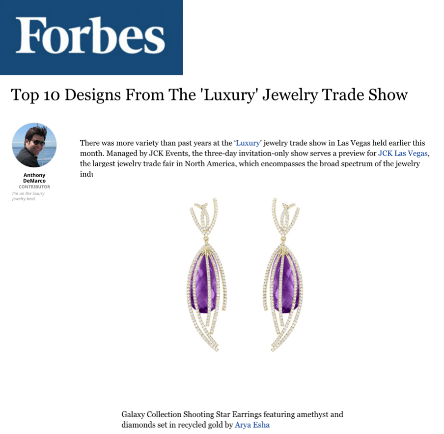 Arya Esha's Designs Is Top 10 Luxury Designs at Forbes Magazine