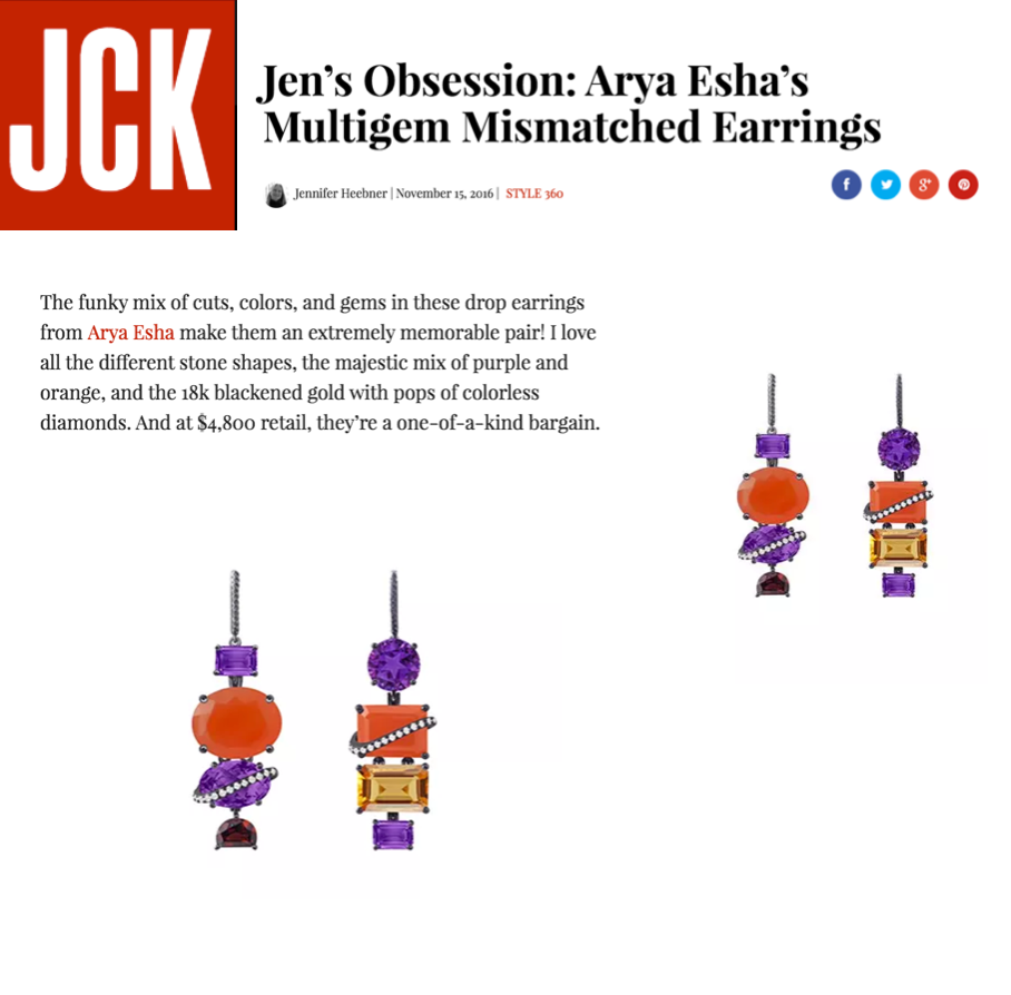 Senior Editor's Obsession:  Arya Esha One-of-a-Kind's at JCK Magazine Online
