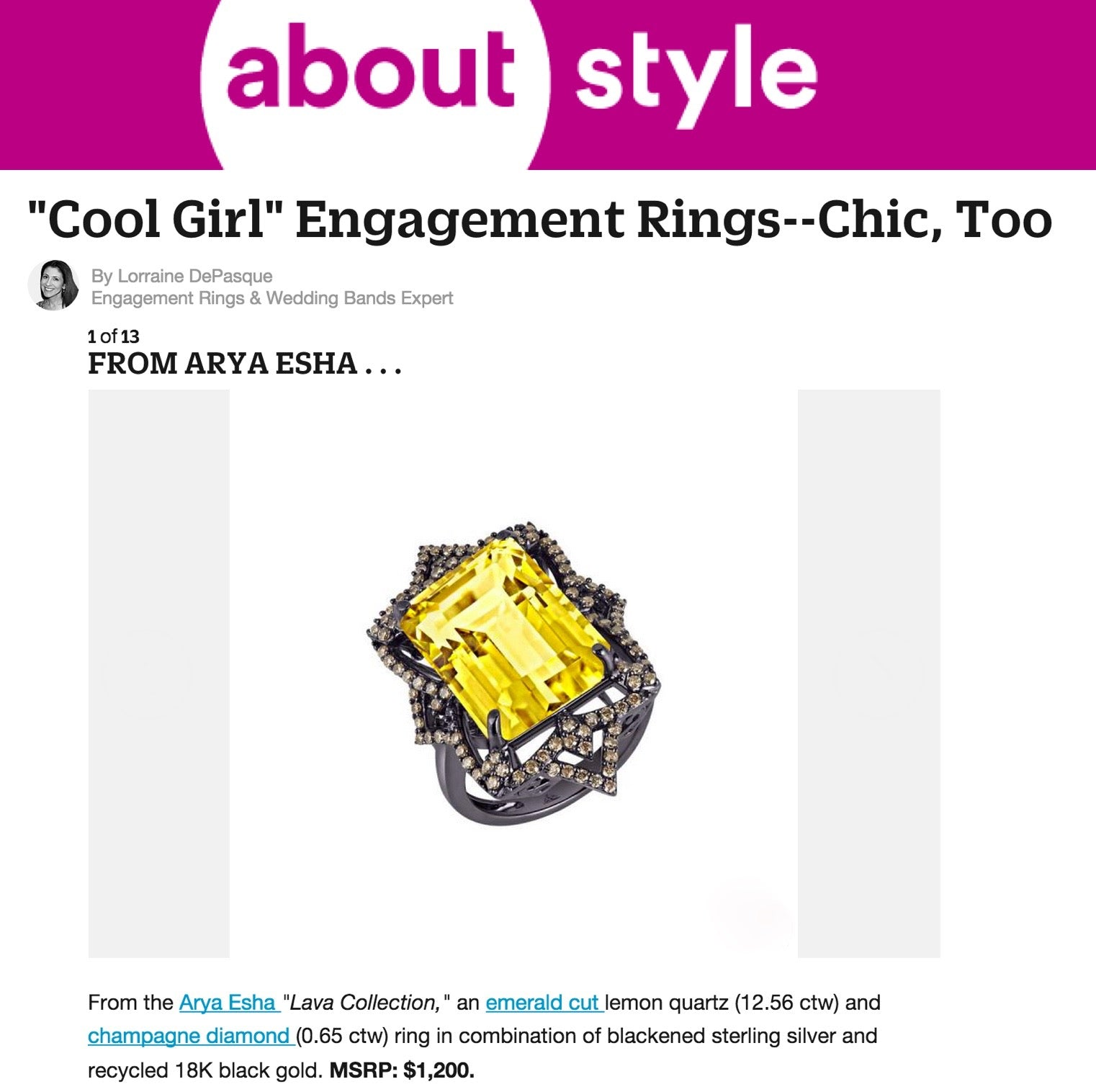 "Arya Esha Ring featured as a ""Cool Girl"" Engagement Ring"