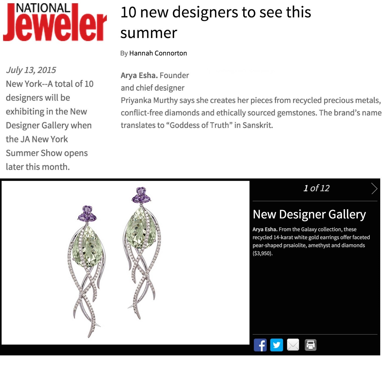 Arya Esha Recognized as a Top Ten Designer to See This Summer