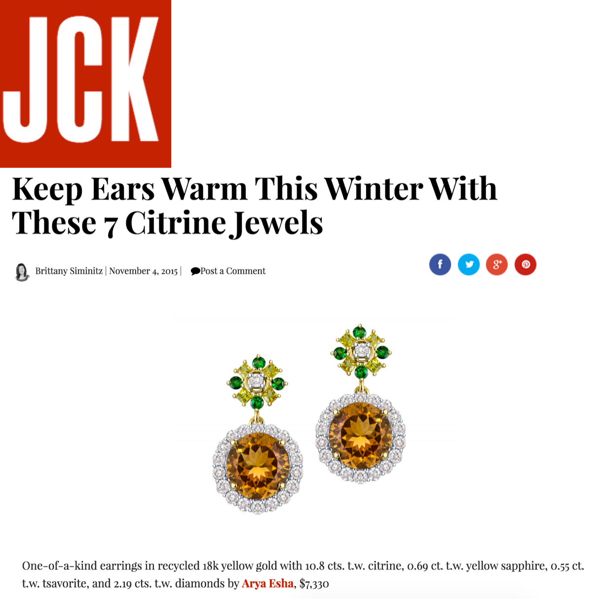 Arya Esha One-of-a-Kind Earrings chosen as top Citrine Jewels for Winter