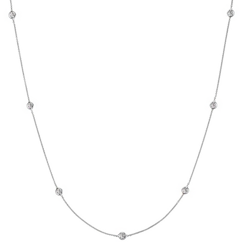 Daytime Diamond 0.50ctw Bezel Set Strand Necklace, in White Gold