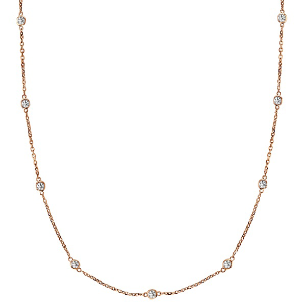 Daytime Diamond 0.75ctw Bezel Set Strand Necklace, in Rose Gold