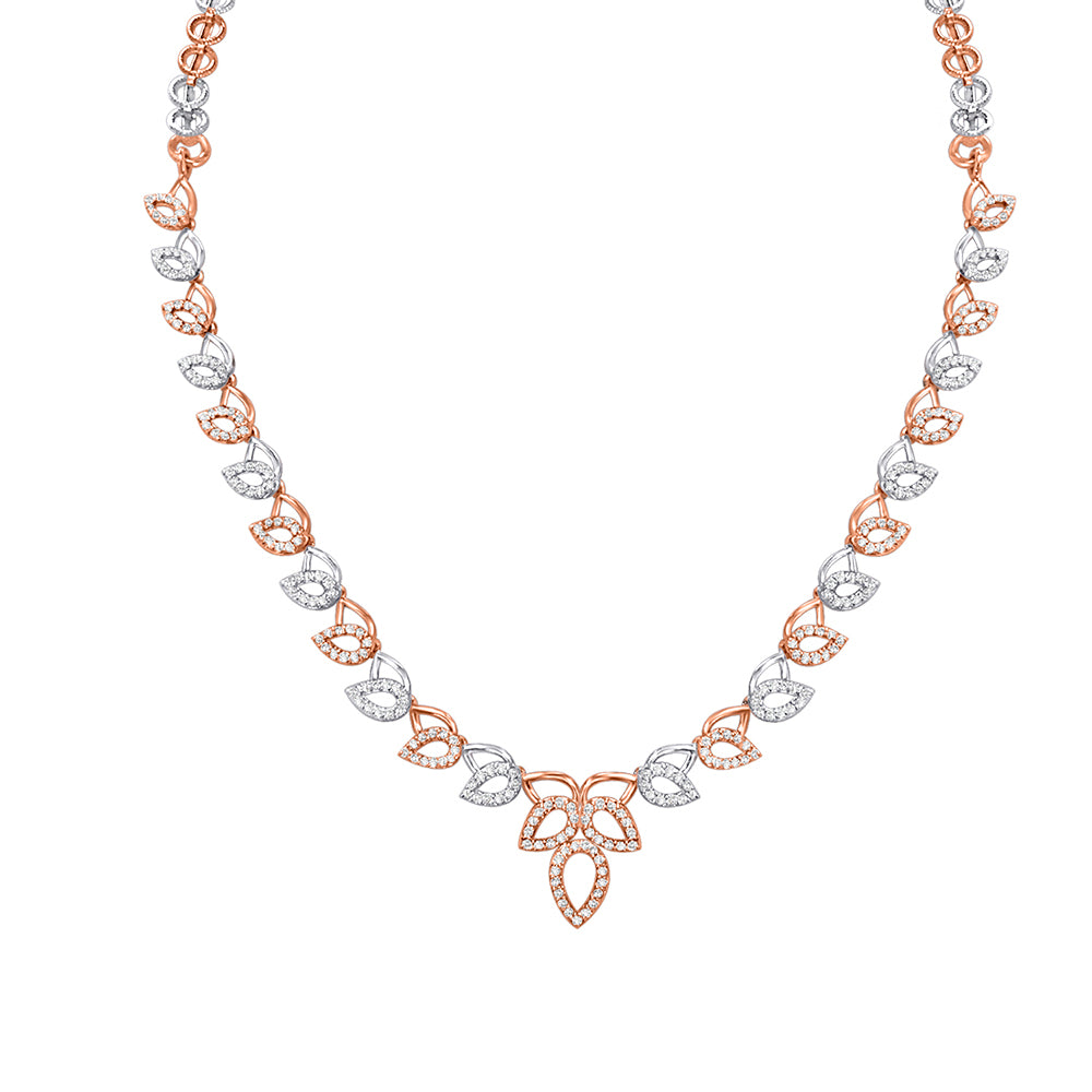 Cocktail Diamond Mia Necklace, in White and Rose Gold