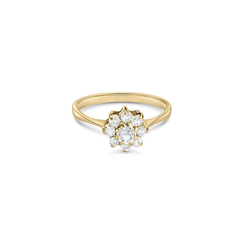 Cocktail Diamond Flora Ring, in Yellow Gold