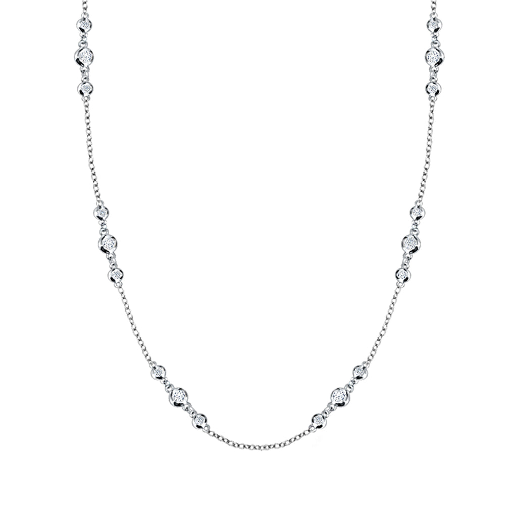 Daytime Diamond Bezel Set Necklace, in White Gold