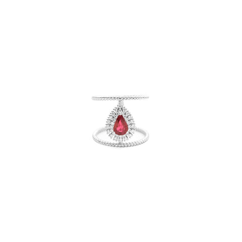 Cocktail Diamond Pear Halo Ring, in Ruby and White Gold