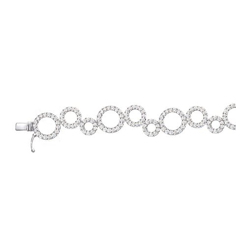 Cocktail Diamond Ellipse Bracelet, in White Gold