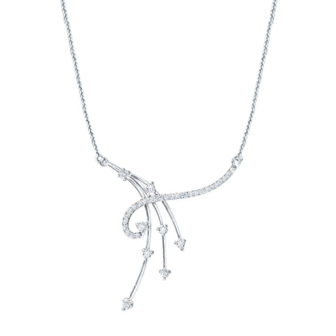 Cocktail Diamond Balance Necklace, in White Gold
