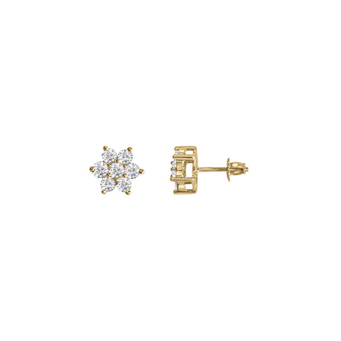Daytime Diamond Star Stud Earrings, in Yellow Gold