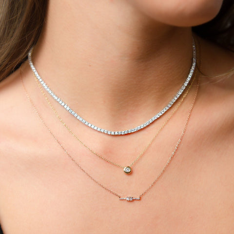 CUSTOM: Adjustable Diamond Tennis Necklace (F/H color SI1/SI2 clarity)