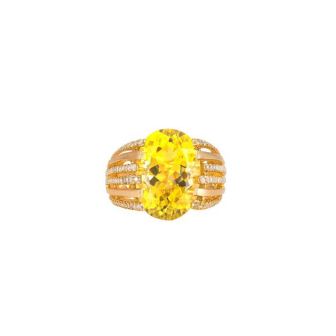 One-of-a-Kind Empress Ring, in Lemon Quartz, Diamonds and Yellow Gold
