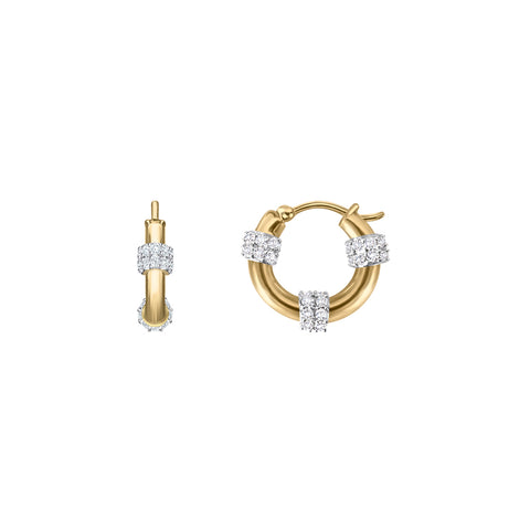 Daytime Diamond Mini Paragon Hoop Earrings, in Yellow Gold
