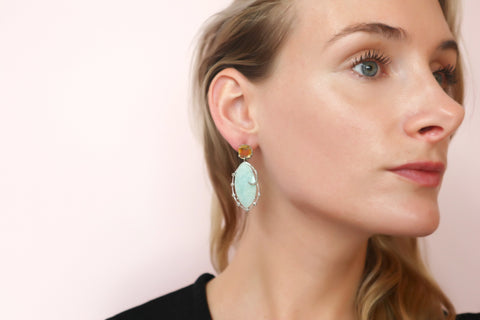 One of a Kind Amazonite and Citrine Earrings