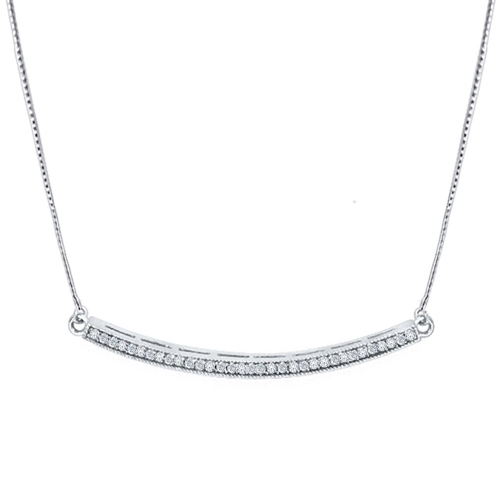 Daytime Diamond Crescent Necklace, in White Gold