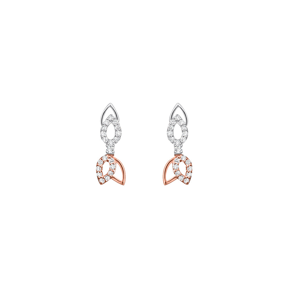Daytime Diamond Petal Stud Earrings, in Rose and White Gold