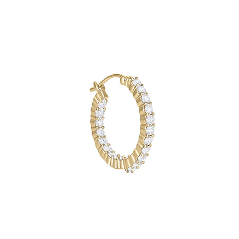 Daytime Diamond Large Double Diamond Hoop Earrings, in Yellow Gold