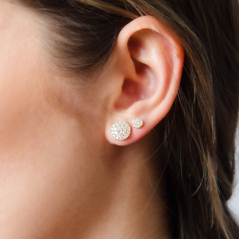Button Drop Diamond Stud Earrings