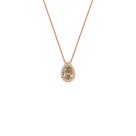 Cocktail Diamond Teardrop Necklace, in Yellow and White Diamond and Rose Gold