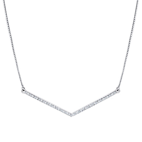 Daytime Diamond Zag Necklace, in White Gold