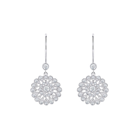 Cocktail Diamond Classic Earrings, in White Gold