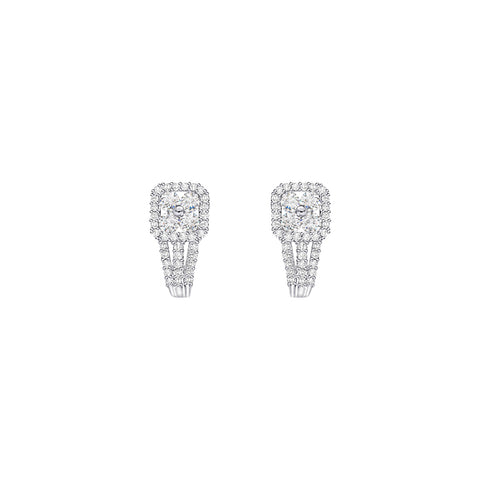 Cocktail Diamond Jenna Stud Earrings, in White Gold
