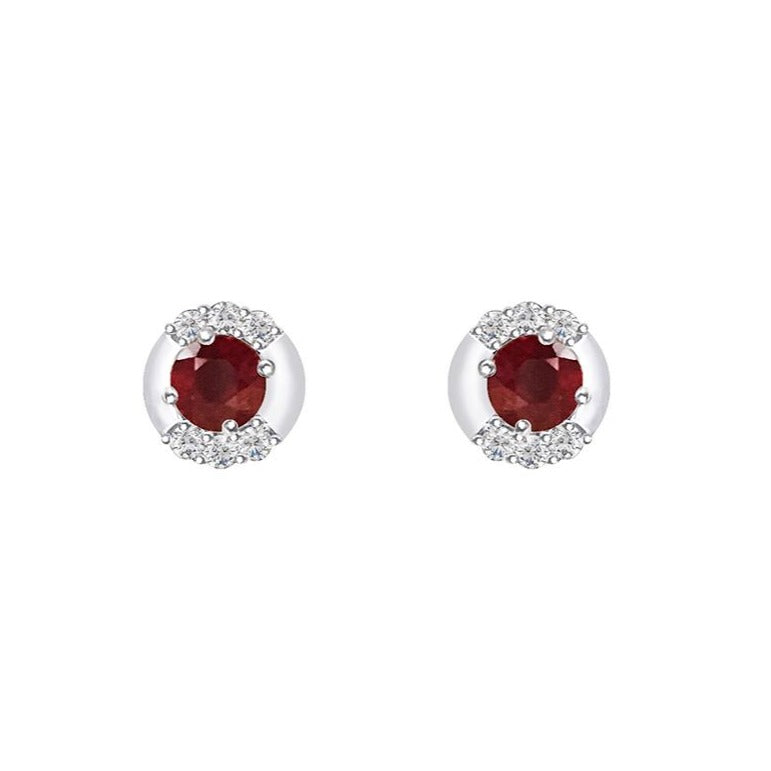 Cocktail Diamond Portia Stud Earrings, in Ruby and White Gold