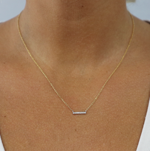 DIAMOND BAR MIXED METALS NECKLACE