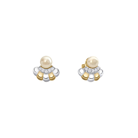 Daytime Diamond Pearl Deco Stud Earrings, in White and Yellow Gold