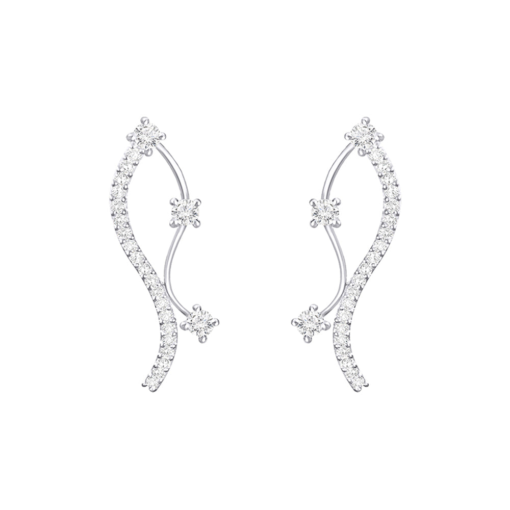 Cocktail Diamond Droplet Earrings, in White Gold