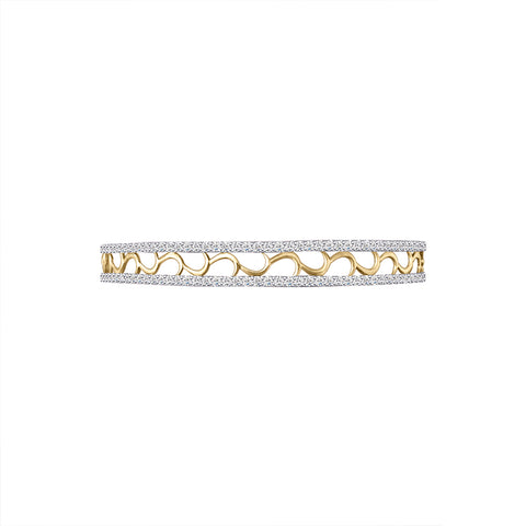 Cocktail Diamond Nova Bangle, in Yellow Gold