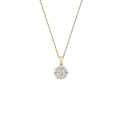 Daytime Diamond Flora Necklace, in Yellow Gold