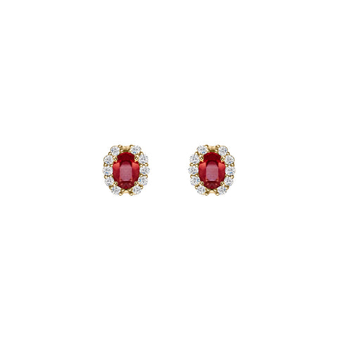 Cocktail Diamond Codelia Stud Earrings, in Ruby and Yellow Gold