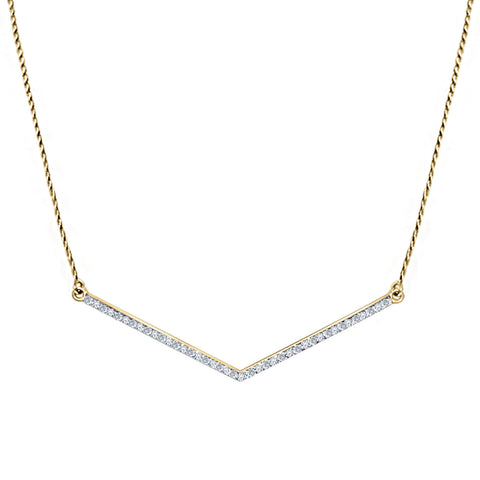 Daytime Diamond Zag Necklace, in Yellow Gold